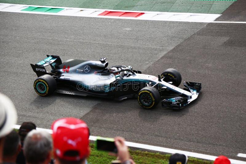 Ganador de Lewis Hamilton en Monza F1 Grand Prix 2018 foto de archivo