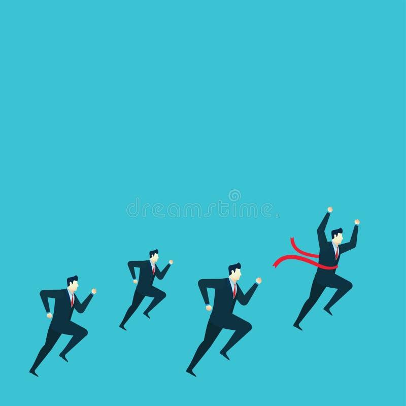 Ganador del grupo del funcionamiento del ejemplo del concepto del hombre de negocios libre illustration