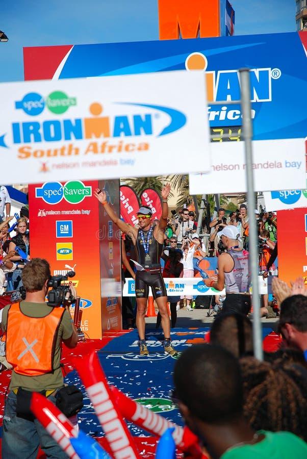 Ganador del triathlon de Ironman fotografía de archivo libre de regalías