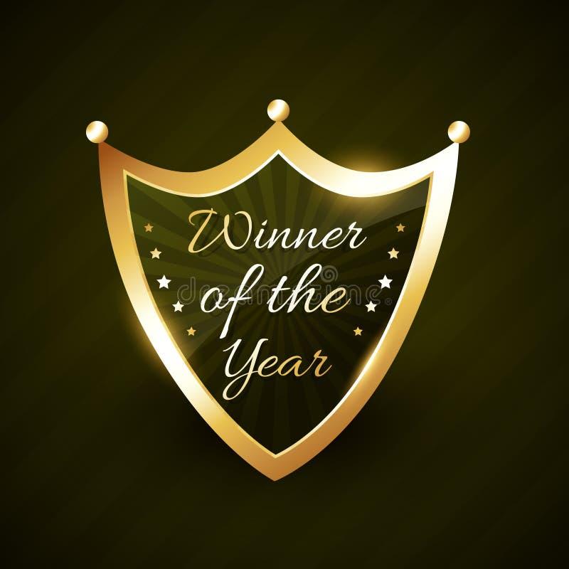 Ganador del vector brillante de oro de la insignia de la etiqueta del año stock de ilustración