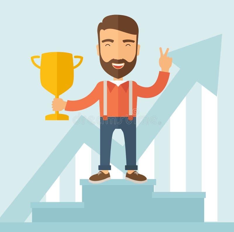 Ganador en el podium ilustración del vector