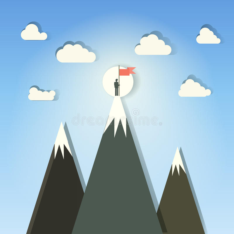 Ganador en la montaña con el ejemplo del vector de la bandera fotografía de archivo