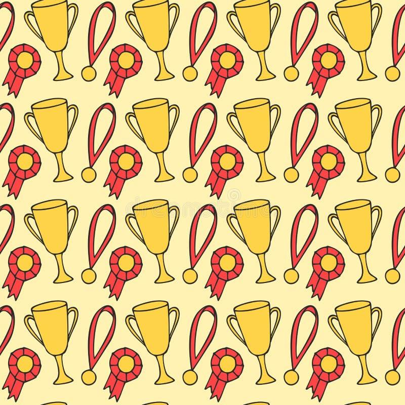Ganador wining en la competencia En el primer lugar Taza del trofeo del oro Ceremonia de entrega de los premios, medalla del camp ilustración del vector