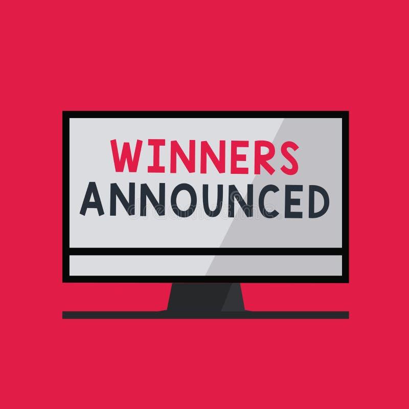 Ganadores de la escritura del texto de la escritura anunciados Anunciación del significado del concepto quién ganó la competencia stock de ilustración
