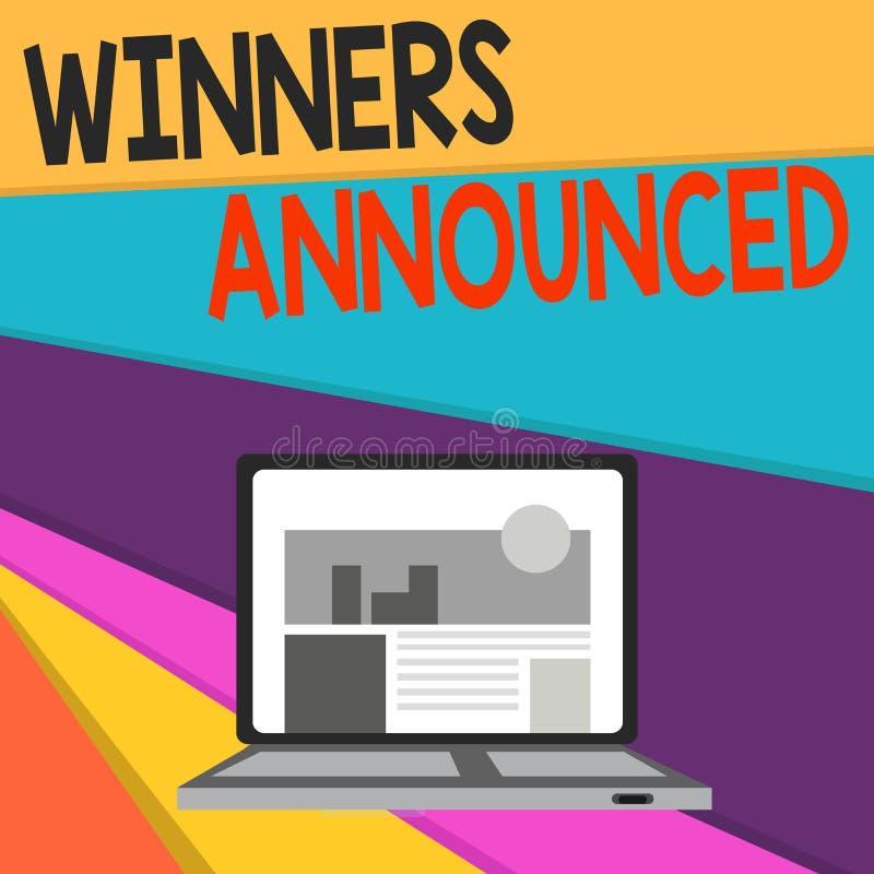 Ganadores de la escritura del texto de la escritura anunciados Concepto que significa la anunciación que ganó la competencia o cu stock de ilustración