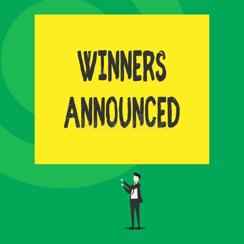 Ganadores del texto de la escritura de la palabra anunciados Concepto del negocio para anunciar quién ganó la competencia o cualq ilustración del vector