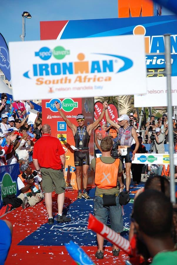 Ganadores del triathlon de Ironman imágenes de archivo libres de regalías