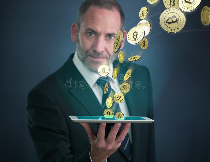 Ganancia Bitcoins foto de archivo libre de regalías