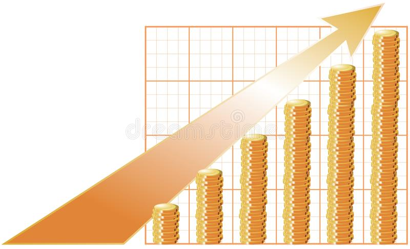 Ganancias cada vez mayores del esquema stock de ilustración