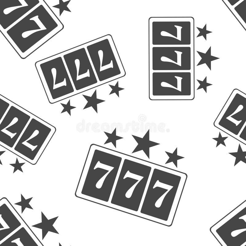 Ganancias del icono del vector en el casino Icono 777 del bote Modelo inconsútil del icono de la máquina tragaperras en un fondo  ilustración del vector