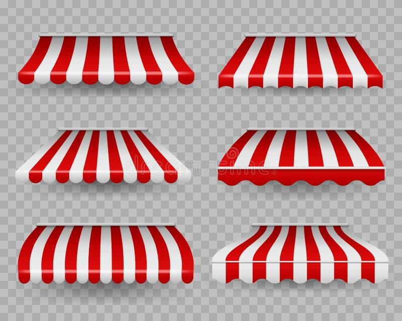Ganancias Despertador con rayas al aire libre para cafés y tiendas de diferentes formas, sombrilla para restaurante, carpa fronte stock de ilustración