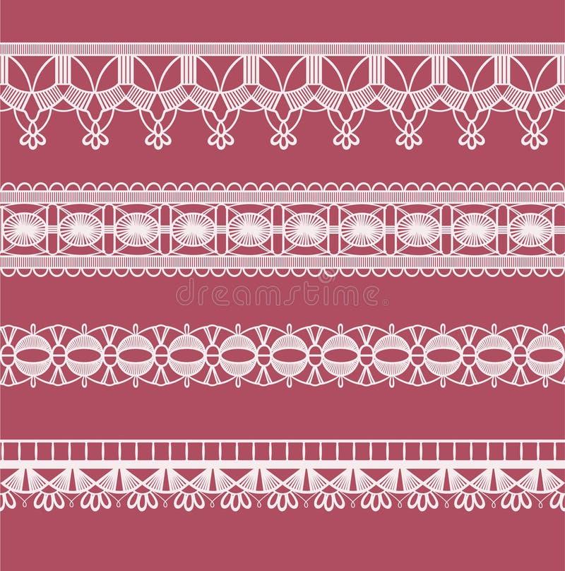 Ganchillo abstracto de la imitación del cordón de la cinta ilustración del vector