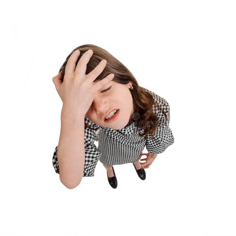 Gancho agarrador olvidadizo del niño su cabeza imágenes de archivo libres de regalías