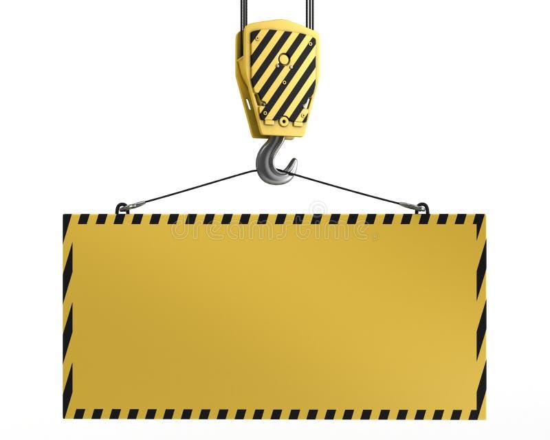 Gancho amarelo do guindaste que levanta a placa amarela em branco ilustração royalty free