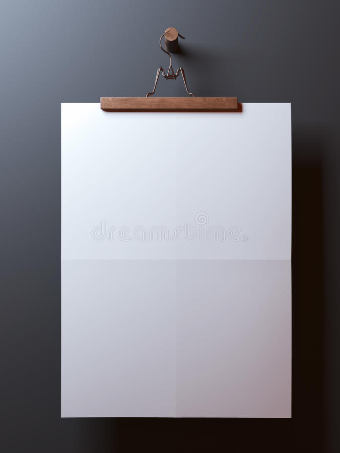 Gancho com a folha de papel dobrada placa ilustração stock
