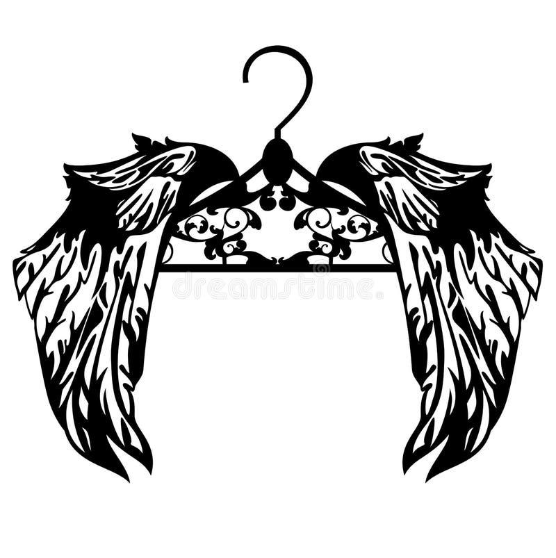 Gancho com projeto preto do vetor das asas ilustração do vetor