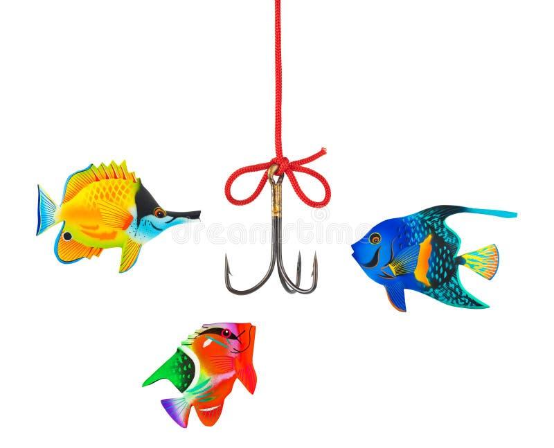 Gancho de leva y cadena de pesca imágenes de archivo libres de regalías