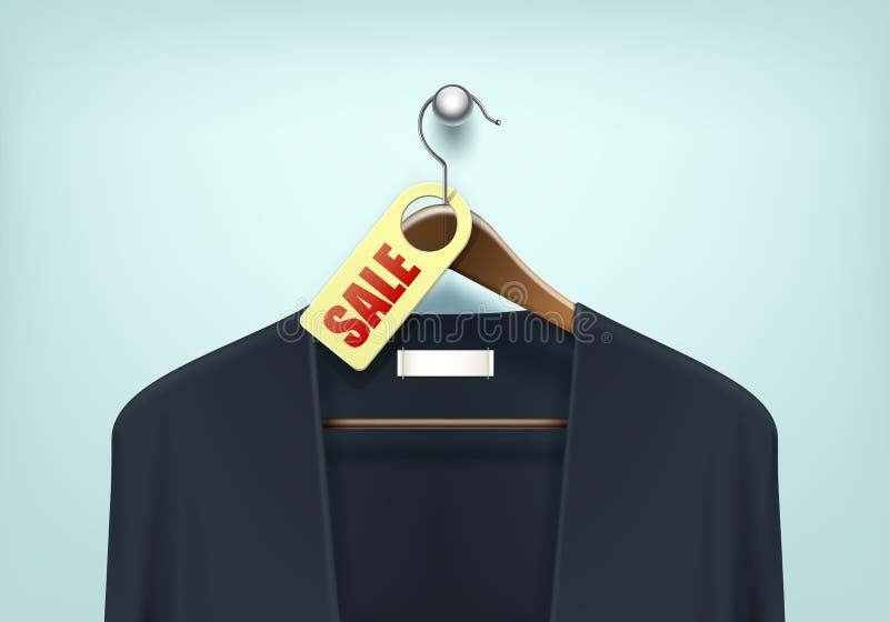 Gancho de madeira da roupa com etiqueta da etiqueta da placa da venda do casaco de lã ilustração do vetor