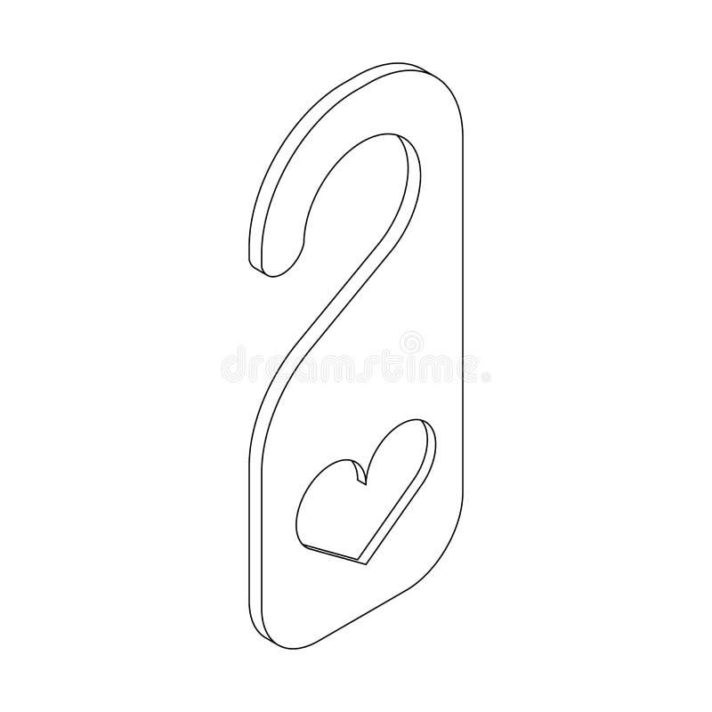 Gancho de porta com ícone do coração, estilo 3d isométrico ilustração do vetor