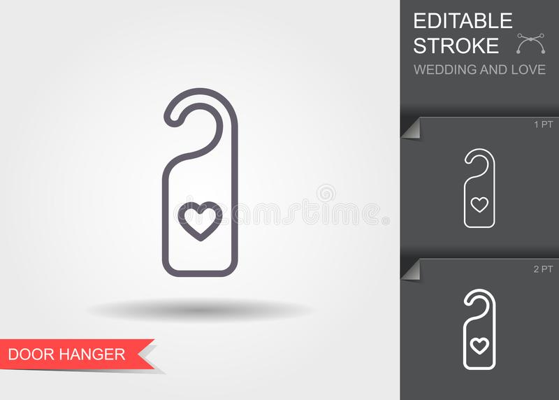 Gancho de porta com coração Linha ícone com sombra e curso editável ilustração do vetor