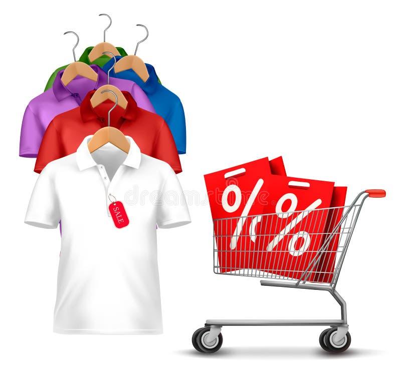 Gancho de roupa com as camisas com preço. ilustração do vetor