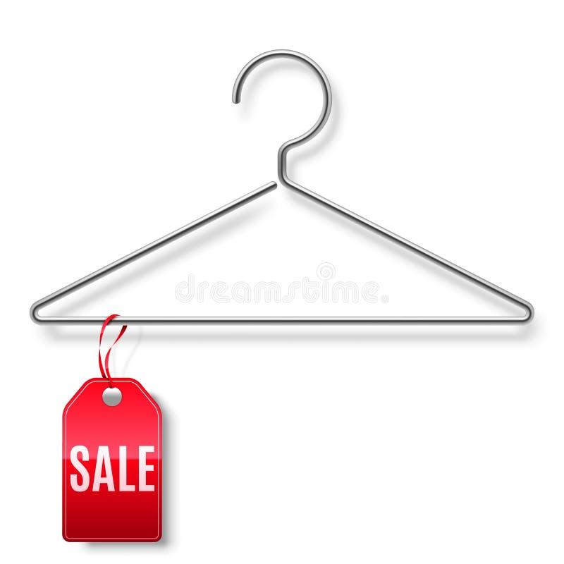 Gancho de roupa com Tag da venda ilustração do vetor