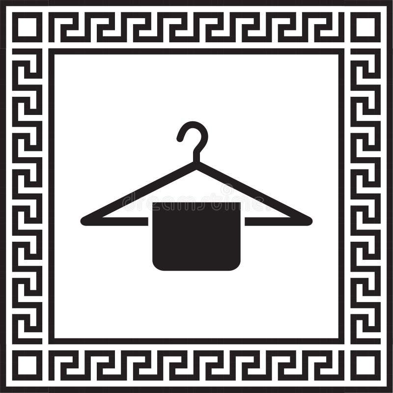 Gancho do ícone do vetor em um quadro com um ornamento grego ilustração stock