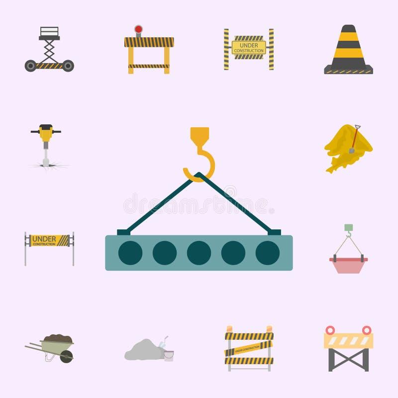 gancho do guindaste com ?cone colorido concreto Grupo universal dos ?cones dos materiais de constru??o para a Web e o m?bil ilustração stock