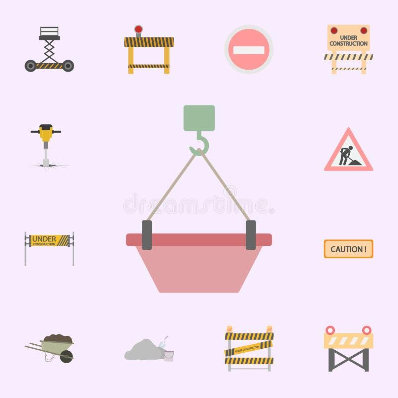 gancho do guindaste com ?cone colorido concreto Grupo universal dos ?cones dos materiais de constru??o para a Web e o m?bil ilustração do vetor
