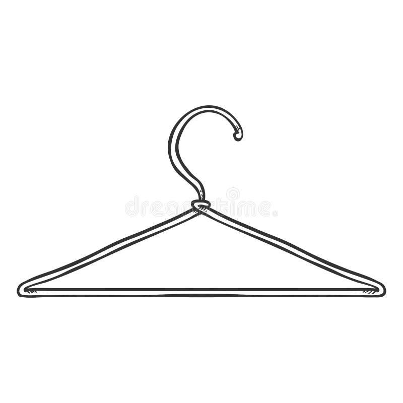 Gancho do ombro do vestuário do esboço do vetor único ilustração do vetor