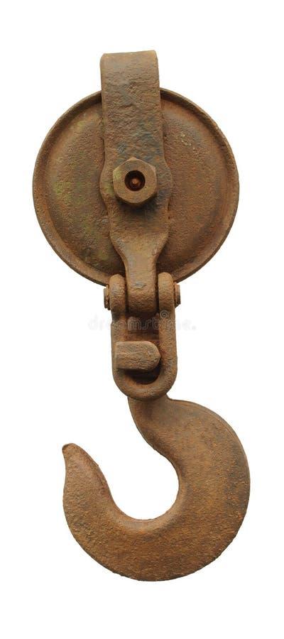 Gancho e polia oxidados fotografia de stock royalty free