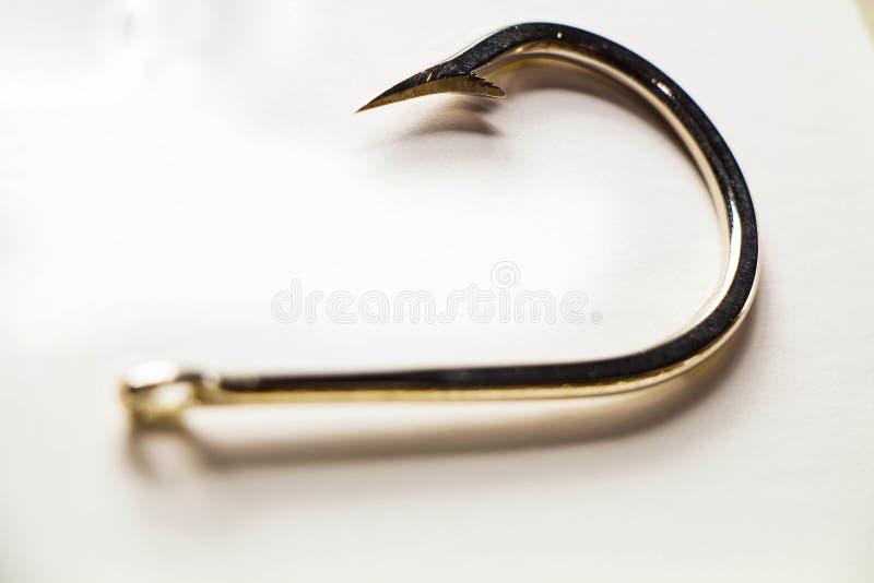 Ganchos, caña de pescar, pescando Gancho en el fondo blanco imagen de archivo libre de regalías
