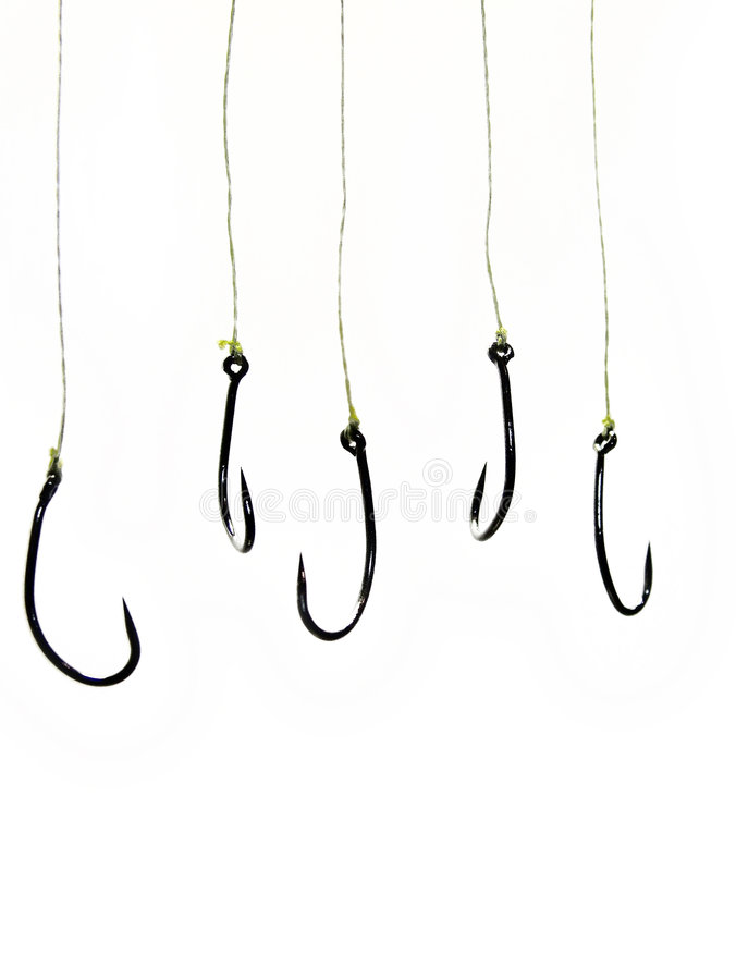 Ganchos de leva de pesca ilustración del vector