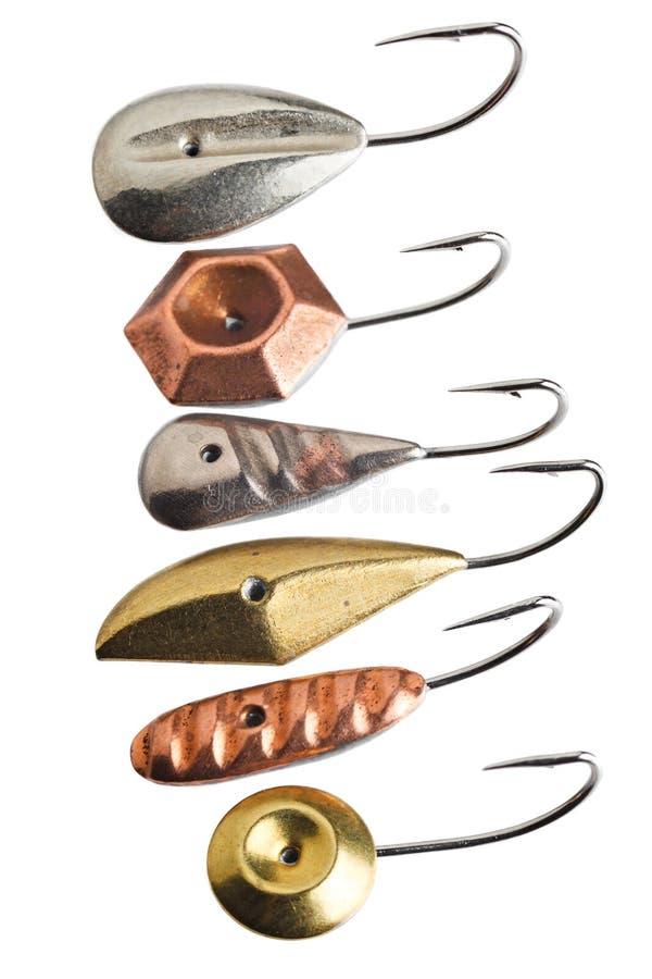 Ganchos de pesca para la pesca del invierno imágenes de archivo libres de regalías