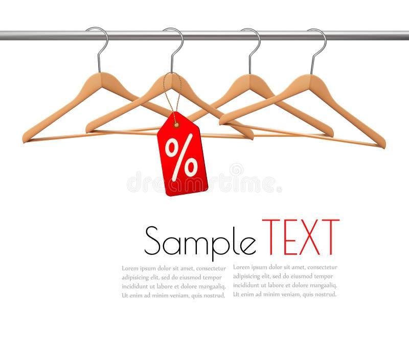 Ganchos de revestimento em um trilho da roupa ilustração stock