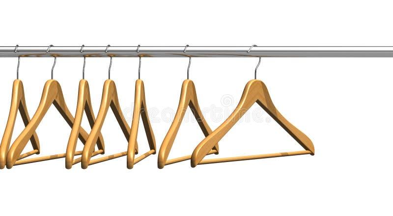Ganchos de revestimento no trilho da roupa ilustração stock