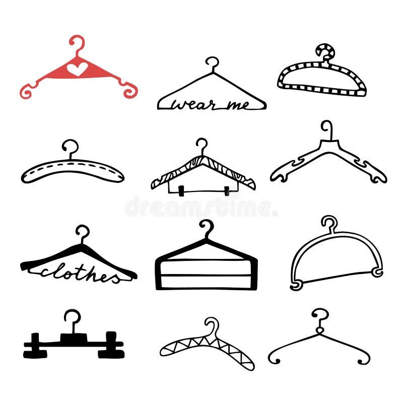 Ganchos de roupa da garatuja ajustados ilustração do vetor
