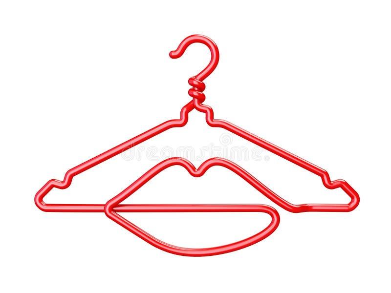 Ganchos de roupa vermelhos 3D dado forma bordos do fio ilustração do vetor