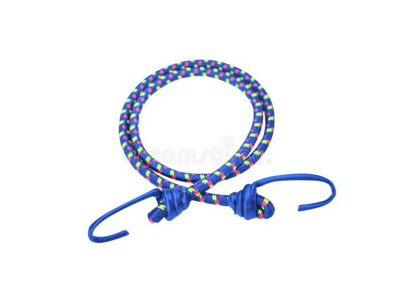 Ganchos e cordas elásticas azuis das correias com p listrado verde e vermelho imagem de stock royalty free