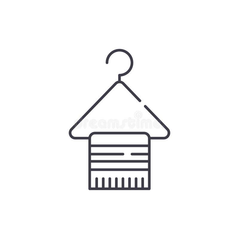 Ganchos para a linha de roupa conceito do ícone Ganchos para a ilustração linear do vetor da roupa, símbolo, sinal ilustração royalty free