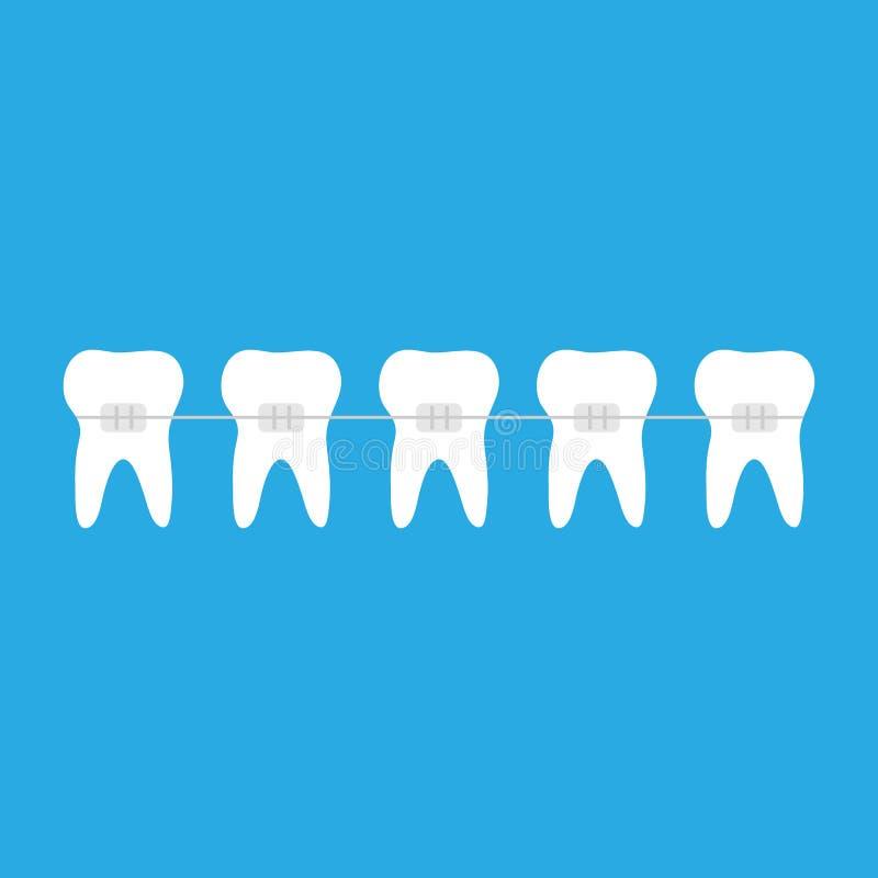 Ganci con il simbolo dell'icona del dente illustrazione vettoriale