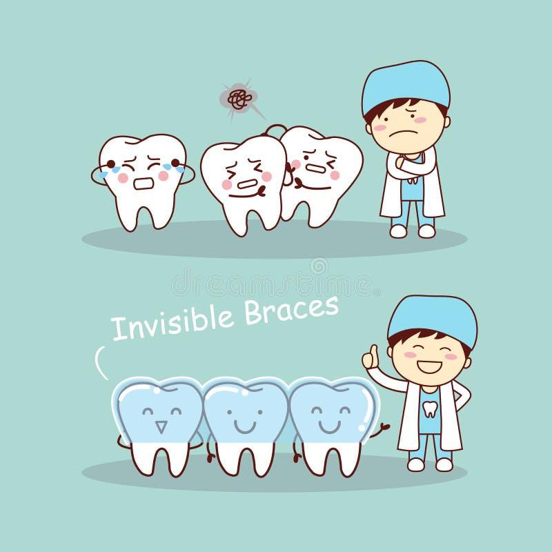 Ganci invisibili del dente sveglio del fumetto illustrazione vettoriale