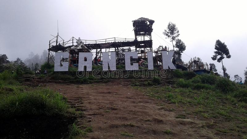 Gancik Hill Top. Is one tourist attraction on the slopes of Merbabu mountain. Not only that, this place became one of the new mountain climbing path Merbabu royalty free stock photos