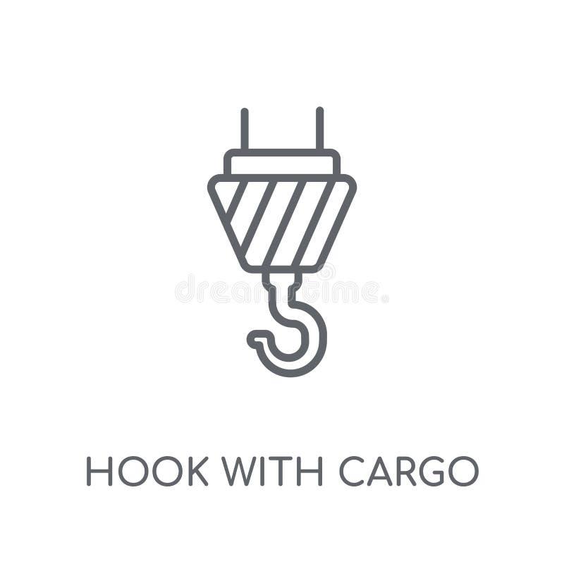 gancio con l'icona lineare del carico Gancio moderno del profilo con il logo del carico illustrazione vettoriale