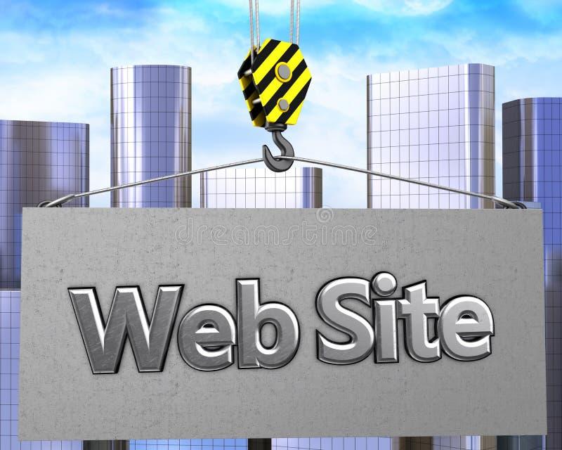 gancio della gru 3d con il segno del sito Web royalty illustrazione gratis