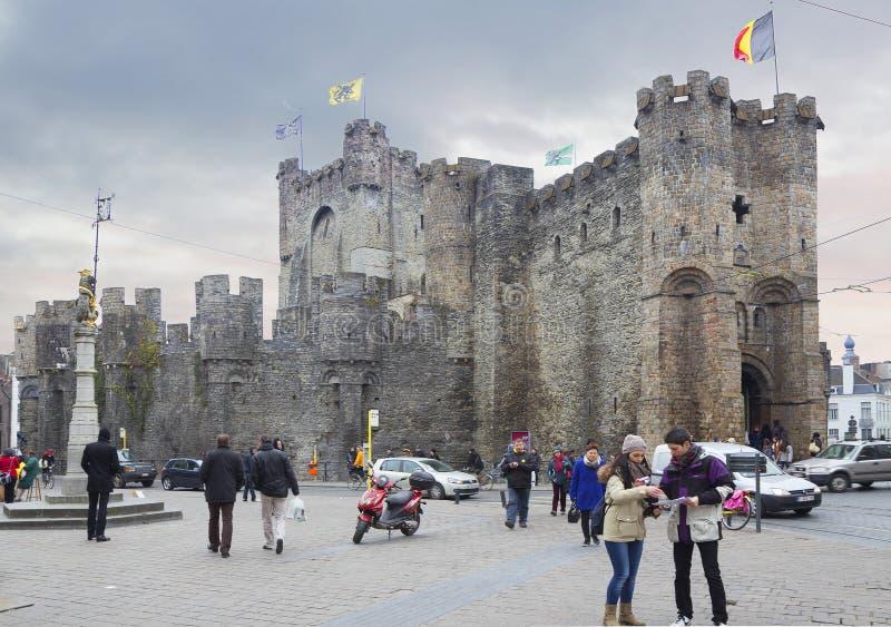 Gand, Belgio, castello dei conteggi delle Fiandre immagini stock
