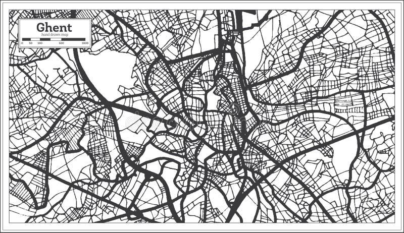 Gand Belgium Plan de la ville en noir et blanc Plan illustration de vecteur