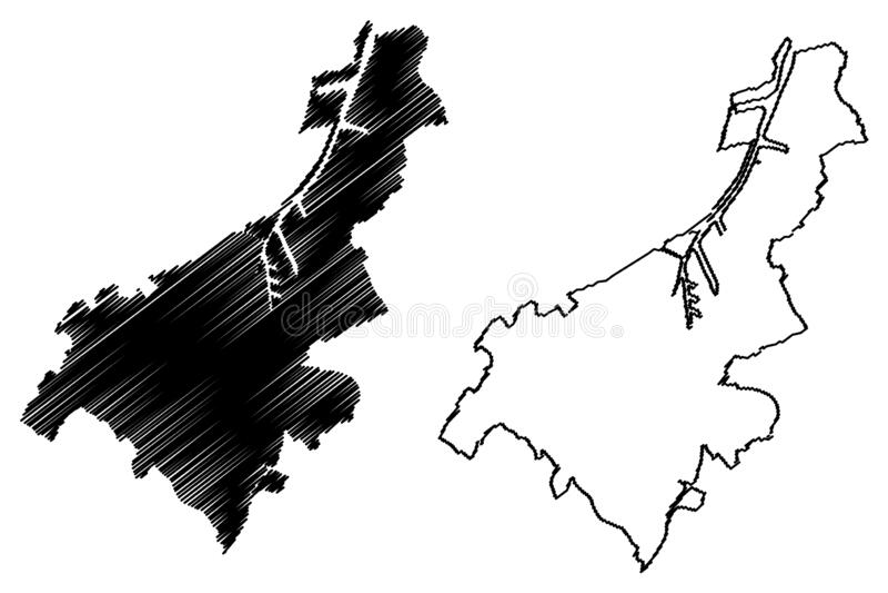 Gand City Kingdom of Belgium, Flemish Region map illustration vectorielle, croquis à griffes Plan de la ville de Gent ou de Gaunt illustration stock