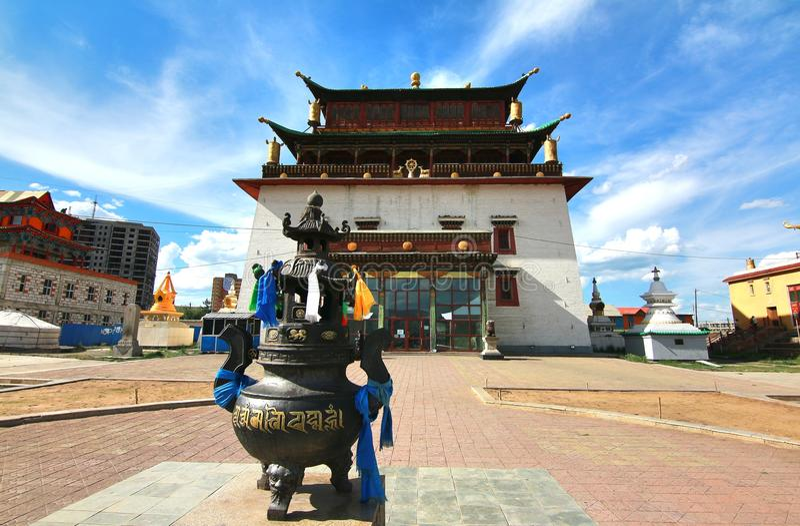 The Gandantegchinlen Monastery is a Tibetan-style Buddhist monastery in the Mongolian capital of Ulaanbaatar, Mongolia. Gandantegchinlen Monastery is a Tibetan royalty free stock photography
