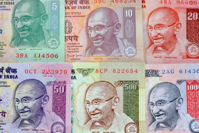 gandhi注意卢比 免版税图库摄影
